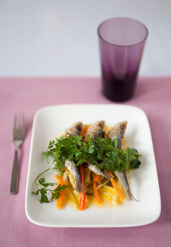 photographie de recette salade de sardines